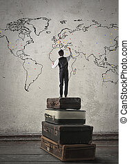 Man and worldmap - Man on books and worldmap