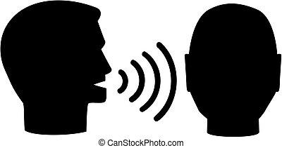 man, anderen, het spreken, pictogram