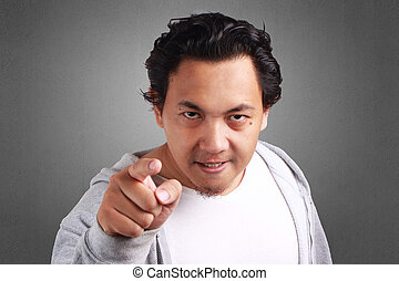 Man Angry Finger Pointing At The Camera