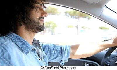 Man angry in traffic driving - Handsome man driving getting...