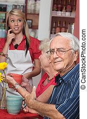 Man Annoyed with Waitress