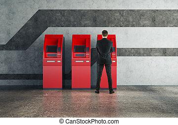 man, användande, röd, atm maskin