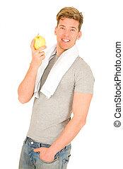 man, appel, vasthouden, jonge