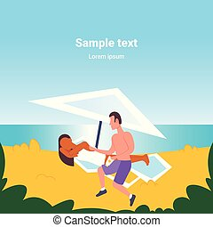 man applying suntan cream to his african american girlfriend sunbathing on beach sunbed sun protection cosmetic summer vacation concept mix race cartoon characters full length