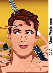 Man applying various beauty products to face - A vector...