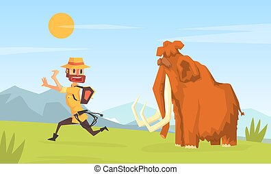 Man Archeologist Running Away from Mammoth, Scientist Character Working on Archeological Excavations Cartoon Vector Illustration