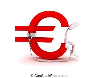 Man are chained with Euro sign