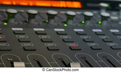 man arm mixer brings musician remote studio music console -...