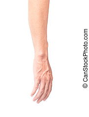 Man arm with blood veins on white background with clipping path, health care and medical concept