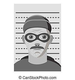 Man arrested icon, gray monochrome style