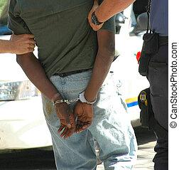 Man arrested. - African man arrested for shoplifting.
