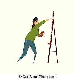 Man artist character in black beret drawing on an easel with paints, hobby or profession concept cartoon vector Illustration on a white background