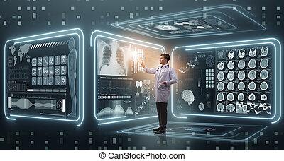 man, arts, in, futuristisch, geneeskunde, medisch concept