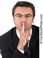 Man asking for silence
