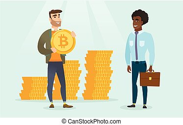 Man asking investor for bitcoins for his startup.