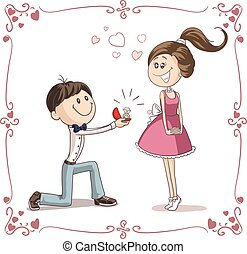 Man Asking Woman to Marry Him Cartoon Illustration