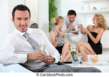 Man at a house party