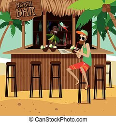 Man at beach bar drinks exotic cocktail while bartender...
