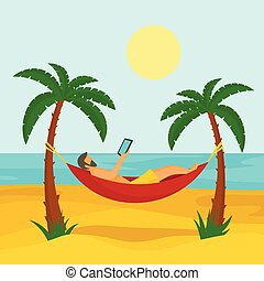 Man at beach hammock concept background, flat style