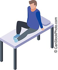 Man at clinic bed icon, isometric style