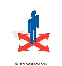 Man at crossroads icon, isometric 3d style