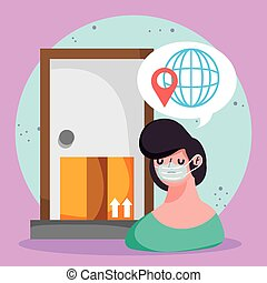 man at door global order delivery box ecommerce online shopping covid 19 coronavirus