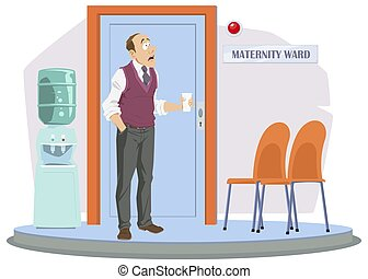 Man at door of medical facility. Maternity ward. Healthcare and Medicine. Illustration for internet and mobile website.