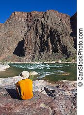 Man at Grand Canyon Bottom