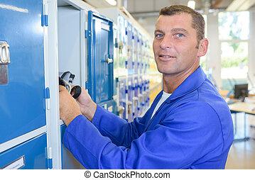 Man at his locker