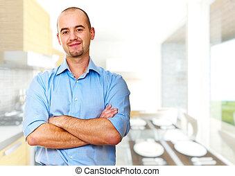 man at home