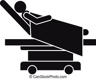 Man at hospital bed icon, simple style