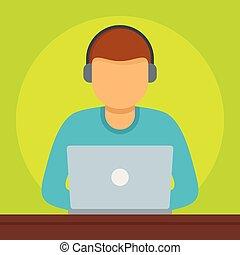Man at laptop icon, flat style