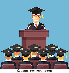 Man at lectern wearing graduation gown, mortarboard in auditorium. People wearing mortar boards sitting in room. Graduation, admitting university degree concept. Modern flat design vector illustration