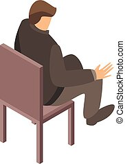Man at office chair icon, isometric style - Man at office...