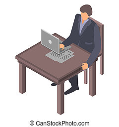 Man at office desktop icon, isometric style - Man at office...