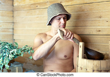 Man at sauna