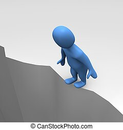 Man at sheer cliff. 3d rendered illustration.