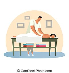 Man at spa saloon doing massage for woman