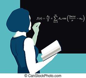 man at the blackboard writing formulas