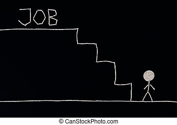 Man at the bottom of the stairs looking for a job, ready to succeed, Unusual concept