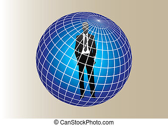 silhouette of man at the center of the blue globe