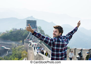 Man at the Great wall of China