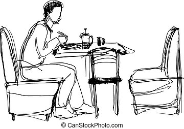 man at the lanch in cafe
