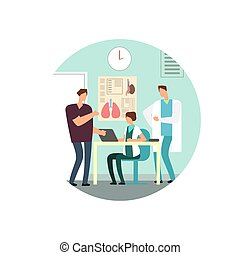 Man at the reception of a doctor flat vector illustration...