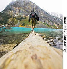 Man at the Shores of Lake Louise