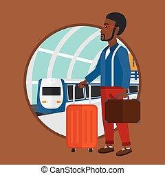 Man at the train station.