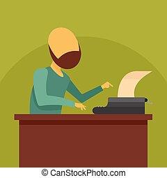 Man at typewriter icon, flat style - Man at typewriter icon....
