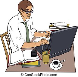 Man at work and a large number of documents - A man in a...