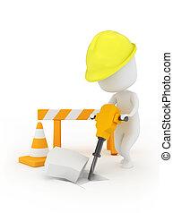 Man at Work - 3D Illustration of a Man Using a Jackhammer