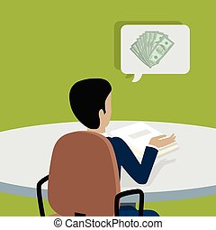 Man at Work Thinks How to Earn More Money. - Man sitting on...